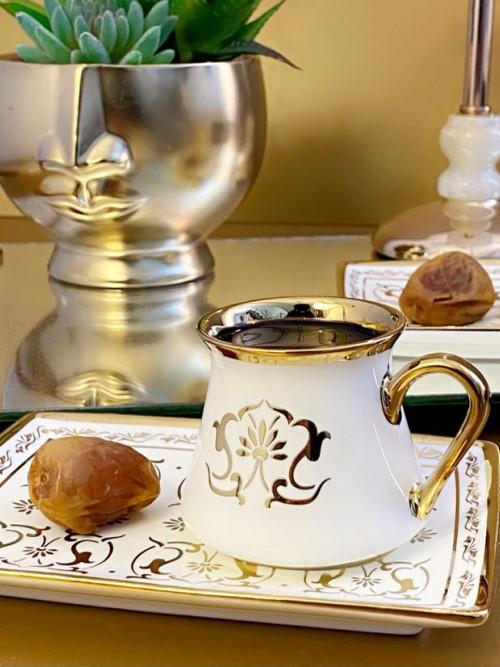 طقم فناجين قهوة تركي لون ابيض مزخرف 12 قطعة